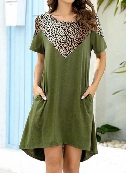 Burgundy Plus Size Tunic Leopard Round Neckline Casual Pockets Plus Dress_8