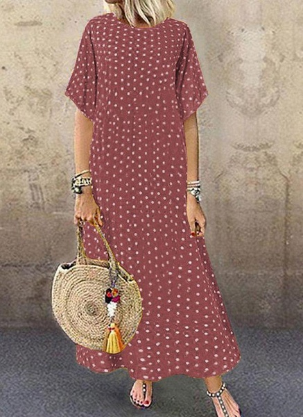 Green Plus Size Polka Dot Round Neckline Casual Maxi Shift Dress Plus Dress_3