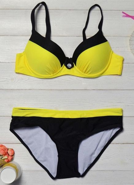 Nylon Color Block With Rim Bikinis Swimwear_5