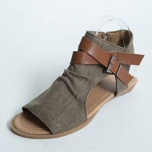 Women's Buckle Zipper High Top Flat Heel Sandals_8
