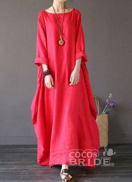 Red Plus Size Tunic Solid Round Neckline Casual Maxi Plus Dress_5