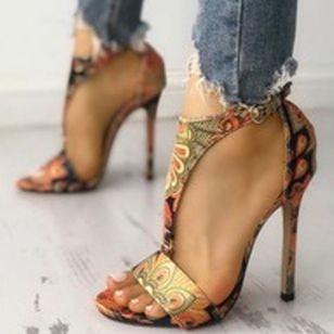 Women's Animal Print Heels Cloth Stiletto Heel Sandals_1