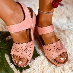 Women's Hollow-out Slingbacks Cloth Wedge Heel Sandals_8