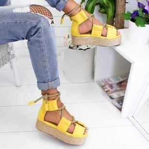 Women's Lace-up Round Toe Flat Heel Sandals Platforms_4