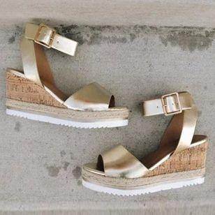 Women's Buckle Slingbacks Wedge Heel Sandals Platforms_4