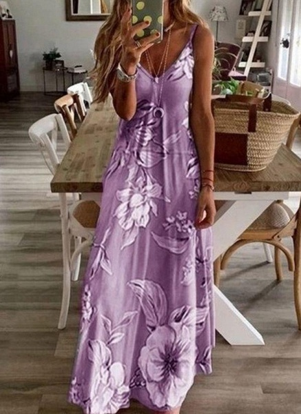 Purple Casual Floral Slip Camisole Neckline X-line Dress_1