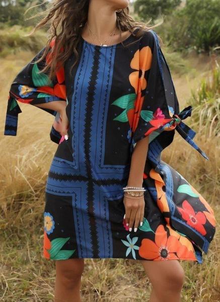 Multicolor Plus Size Floral Round Neckline Casual Bow Above Knee Plus Dress_1