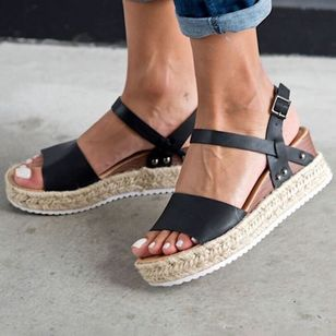 Women's Buckle Heels Wedge Heel Sandals_3