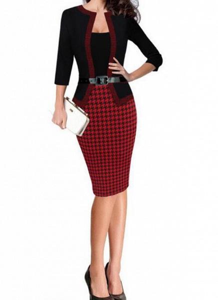 Elegant Color Block Wrap Pencil Bodycon Dress_4