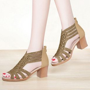 Women's Hollow-out Peep Toe Chunky Heel Sandals_5