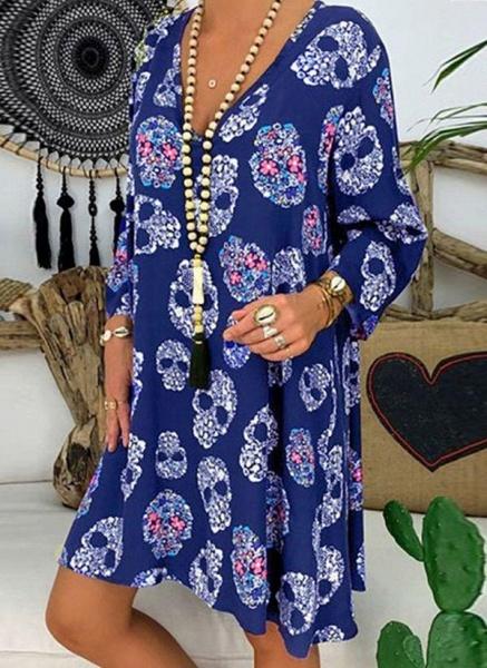 Blue Plus Size Tunic Geometric V-Neckline Casual Knee-Length Plus Dress_2