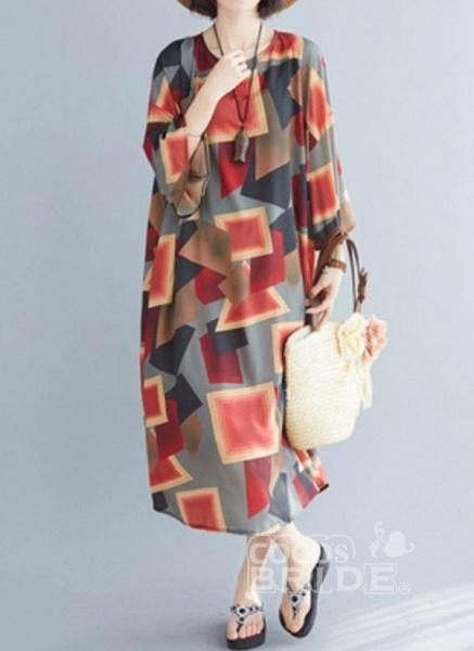 Multicolor Plus Size Tunic Color Block Round Neckline Casual Midi Plus Dress_2
