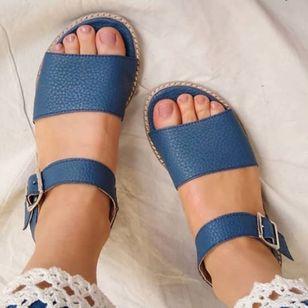 Women's Buckle Round Toe Low Heel Sandals_6