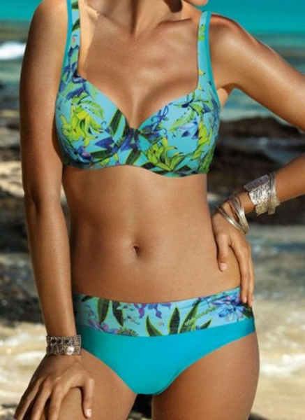 Polyester Pattern Floral Bikinis Swimwear_3