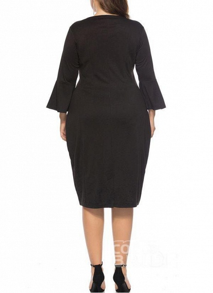 Green Plus Size Pencil Solid Round Neckline Casual Knee-Length Plus Dress_6