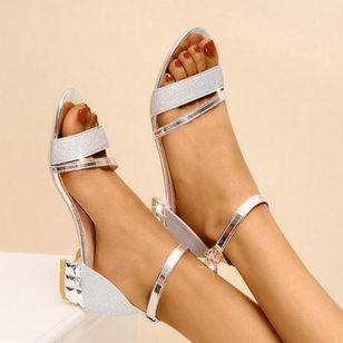 Women's Crystal Buckle Low Top Low Heel Sandals_6