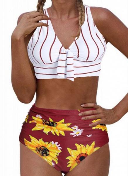 Polyester Floral Bikinis Swimwear_1