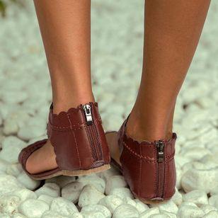 Women's Zipper Leatherette Low Heel Sandals_3