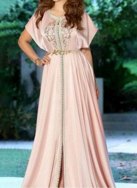 Pink Elegant Floral V-Neckline Maxi X-line Dress
