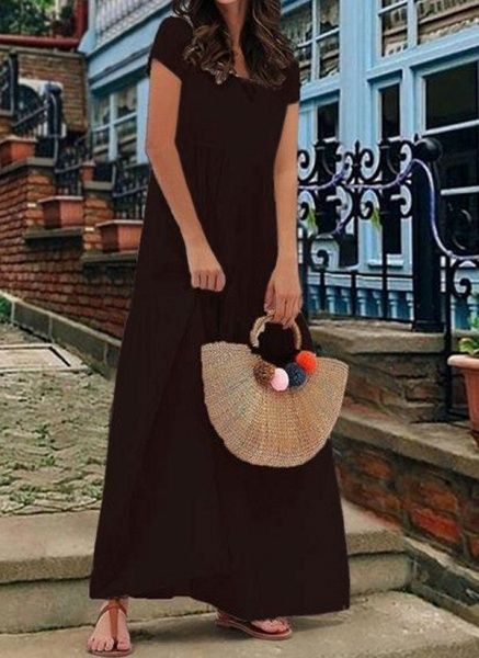 White Plus Size Tunic Solid V-Neckline Casual Maxi Plus Dress_4