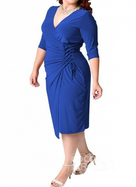 Red Plus Size Solid V-Neckline Casual Sashes Midi Plus Dress_4