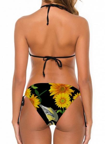 Nylon Halter Knotted Floral Bikinis Swimwear_2
