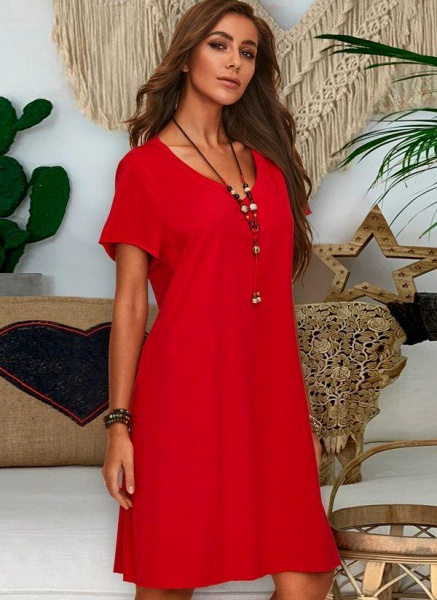 Red Plus Size Tunic Solid V-Neckline Casual Knee-Length Plus Dress_3