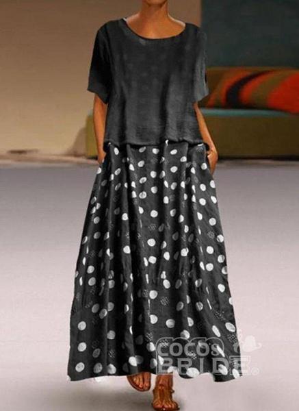 Yellow Plus Size Tunic Polka Dot Round Neckline Casual Maxi Plus Dress_6