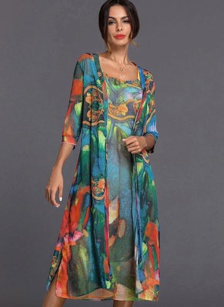 Arabian Wrap Tunic Round Neckline A-line Dress_1
