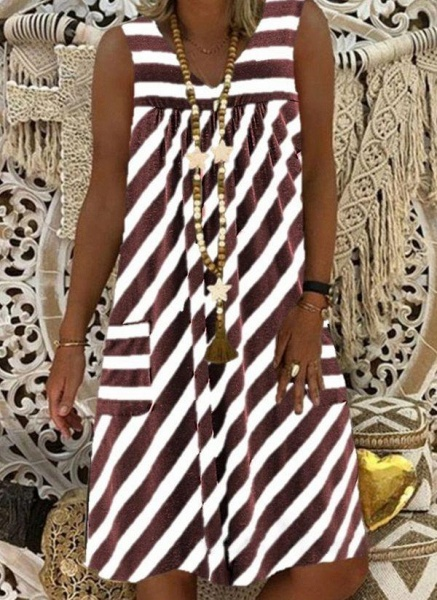 Brown Plus Size Tunic Stripe V-Neckline Casual Pockets Plus Dress_2
