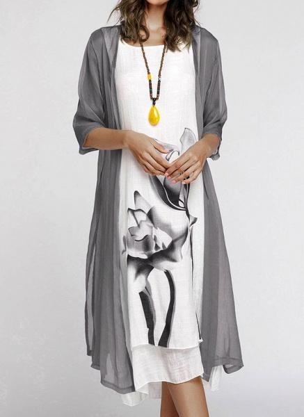 Floral Wrap Round Neckline Midi X-line Dress_6