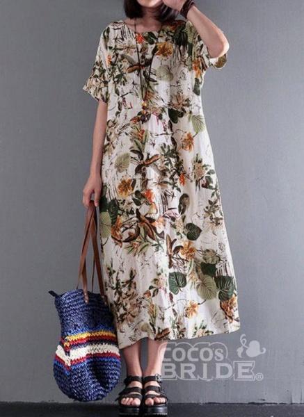 Yellow Plus Size Floral Round Neckline Casual Midi Shift Dress Plus Dress_3