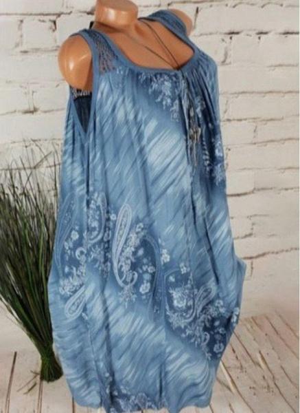 Light Blue Plus Size Tunic Floral Square Neckline Casual Above Knee Plus Dress_1