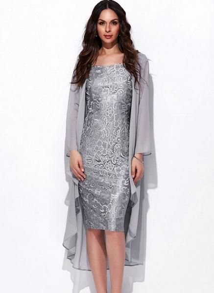 Arabian Solid Wrap Square Neckline Sheath Dress_1
