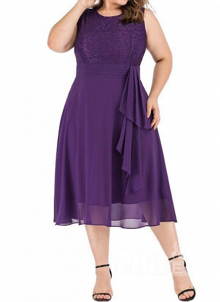 Dark Blue Plus Size Solid Round Neckline Casual Midi X-line Dress Plus Dress_5