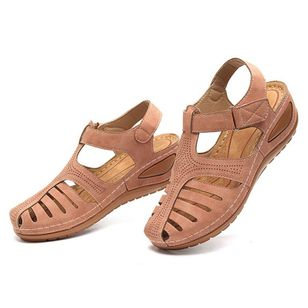 Women's Hollow-out Velcro Round Toe Flat Heel Sandals_2