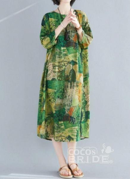 Plus Size Tunic Color Block Round Neckline Midi Plus Dress_2