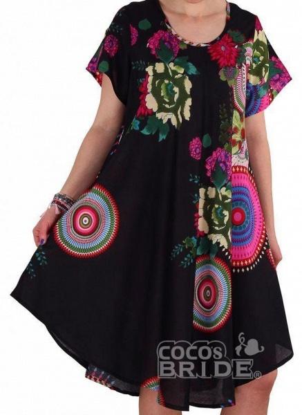 Black Plus Size Color Block Round Neckline Casual Knee-Length Shift Dress Plus Dress_4