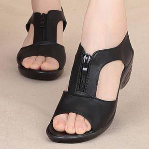 Women's Zipper Peep Toe Low Heel Sandals_1