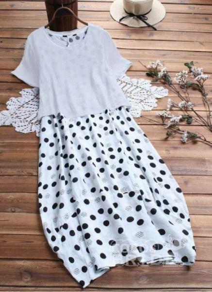 Yellow Plus Size Tunic Polka Dot Round Neckline Casual Maxi Plus Dress_4