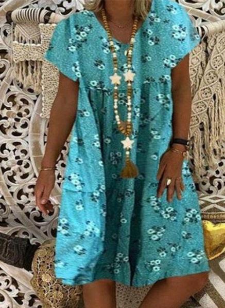 Blue Plus Size Tunic Floral V-Neckline Casual Knee-Length Plus Dress_1