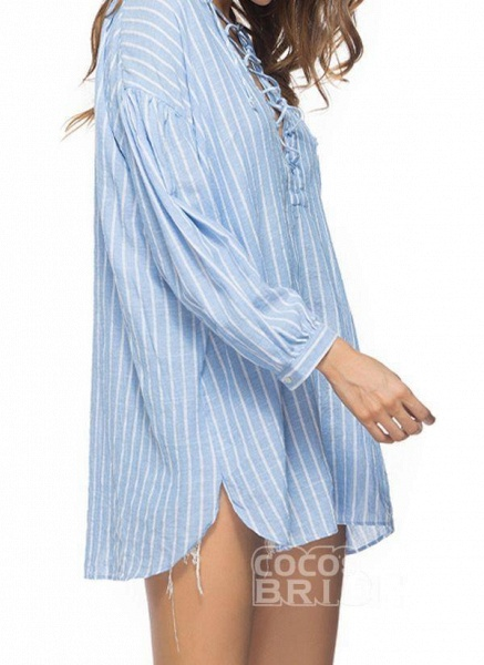 Blue Plus Size Tunic Stripe V-Neckline Casual Above Knee Plus Dress_3