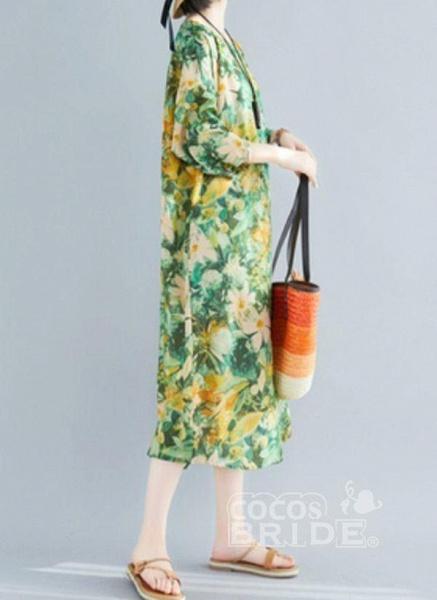 Plus Size Tunic Floral Round Neckline Casual Plus Dress_3