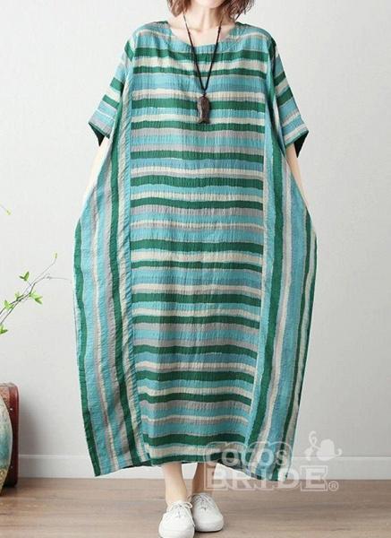 Green Plus Size Tunic Color Block Round Neckline Casual Midi Plus Dress_4