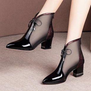 Women's Bowknot Zipper Pointed Toe Heels Fabric Chunky Heel Sandals_1