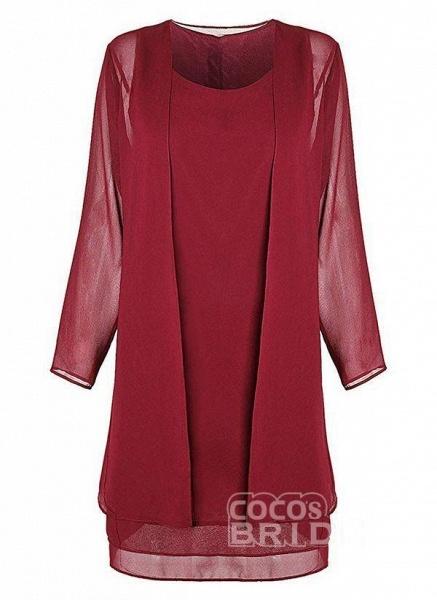 Burgundy Plus Size Solid Round Neckline Elegant Knee-Length Shift Dress Plus Dress_2