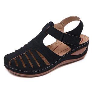 Women's Hollow-out Velcro Round Toe Flat Heel Sandals_4