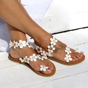 Women's Imitation Pearl Flower Toe Ring Flat Heel Sandals_4