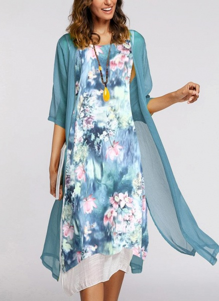 Elegant Floral Wrap Round Neckline A-line Dress_1