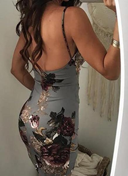 Sexy Floral Slip Camisole Neckline Sheath Dress_1